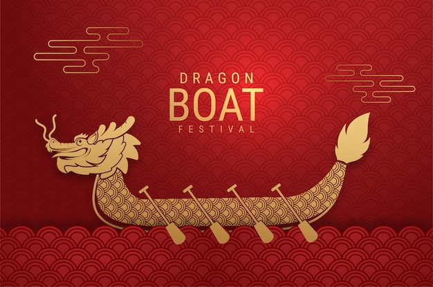 Luxe rode kaart chinese dragon boat festival. (chinese tekst betekent: dragon boat festival)