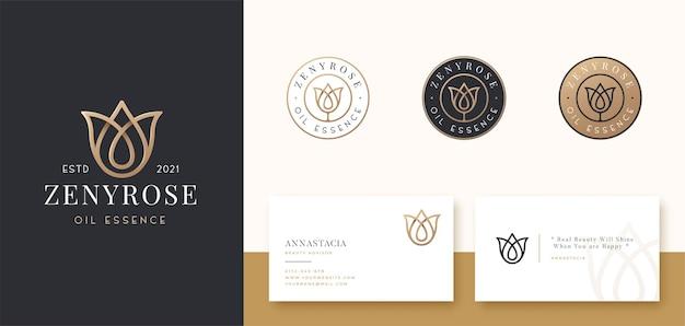 Luxe roos lijntekeningen logo ontwerp