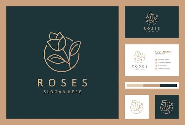 Luxe roze bloem logo ontwerp met visitekaartje