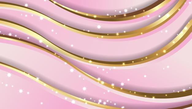 Luxe roze en gouden golf papercut achtergrond afbeelding