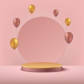 Luxe roze gouden en gouden ballonachtergrond teruggeven met cilinderpodium.