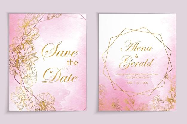 Luxe roze gouden lijn bloemen aquarel achtergrond trouwkaart uitnodiging