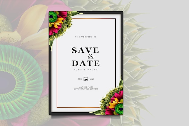 Luxe save the date bruiloft uitnodigingskaart ontwerpset
