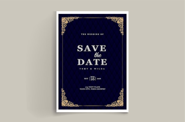 Luxe save the date bruiloft uitnodigingskaart