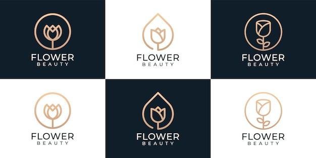 Luxe schoonheid bloem natuur logo collectie