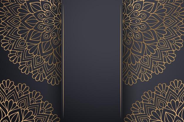 Luxe sier mandala achtergrond in gouden kleur.