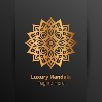 Luxe sier mandala logo, arabesk stijl.
