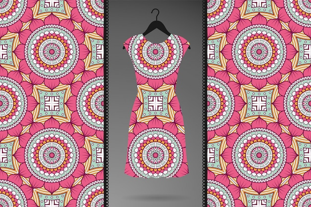 Luxe sier mandala naadloze patroon voor kleding, textielprints