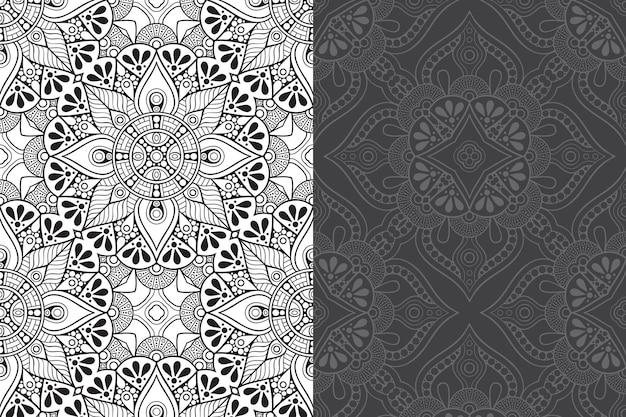 Luxe sier mandala ontwerp naadloze patroon set.