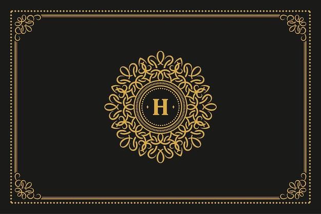 Luxe sieraad vintage monogram logo brief sjabloon ontwerp vectorillustratie. royal merk kalligrafische sierlijke vignetten goed voor boetiek of restaurant logo.