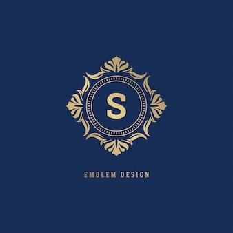 Luxe sierlijke logo monogram crest sjabloon.