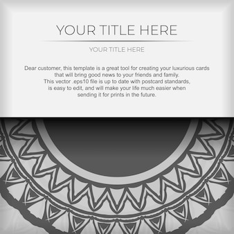 Luxe sjabloon voor afdrukbare ansichtkaarten in witte kleur met donkere griekse patronen. vector voorbereiding van uitnodigingskaart met plaats voor uw tekst en vintage ornament.