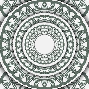 Luxe sjabloon voor ansichtkaarten met printontwerp in witte kleur met donkere griekse patronen. een uitnodiging voorbereiden met een plaats voor uw tekst en vintage ornamenten.