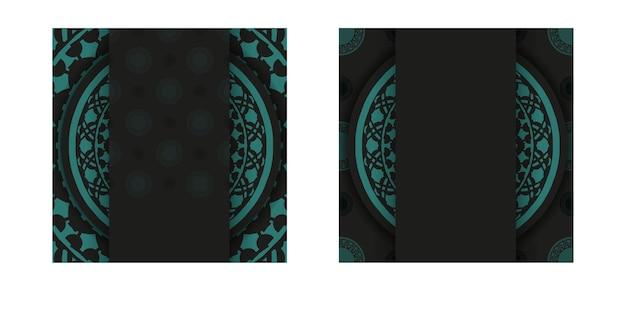 Luxe sjabloon voor postkaarten in zwarte kleur met blauwe griekse patronen. vector voorbereiding van uitnodigingskaart met plaats voor uw tekst en abstract ornament.