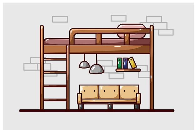 Luxe slaapzaal bed illustratie