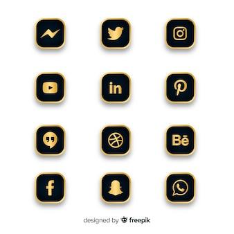 Luxe social media logo-collectie Premium Vector