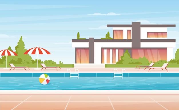 Luxe spa aan het zwembad met parasol