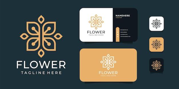 Luxe spa bloem logo ontwerp met gouden concept.