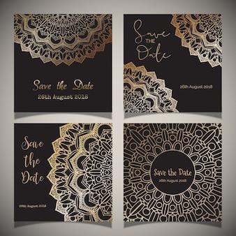 Luxe sparen de datumkaarten met mandala-ontwerpen