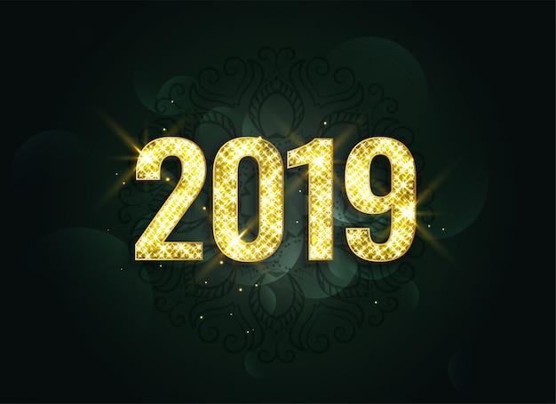 Luxe stijl 2019 nieuw jaar schittert achtergrond