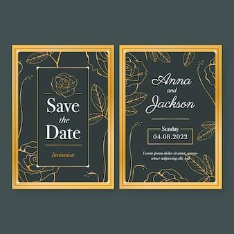 Luxe stijl bruiloft uitnodiging sjabloon