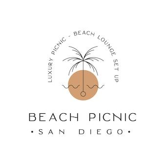 Luxe strand picknick lounge set-up logo ontwerp inspiratie