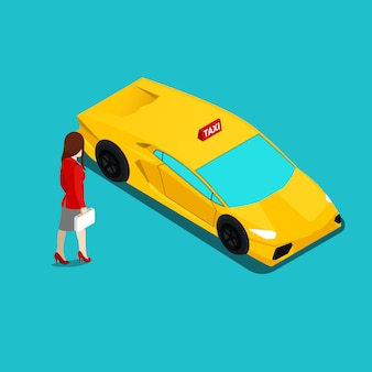Luxe taxiservice. zakenvrouw en premium auto. isometrische taxi-auto.