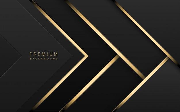 Luxe technische achtergrond. stapel zwart papier materiaallaag met gouden streep. behang met pijlvorm
