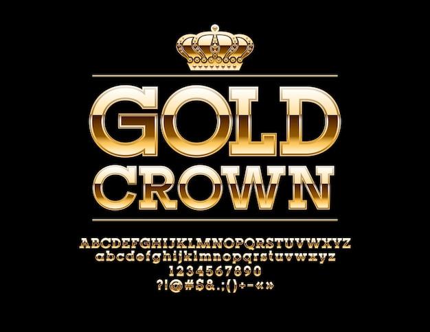 Luxe teken gouden kroon chique kleurovergang lettertype exclusieve alfabet letters cijfers en symbolen