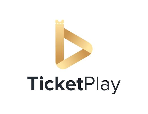 Luxe ticket en speel video af eenvoudig strak creatief geometrisch modern logo-ontwerp