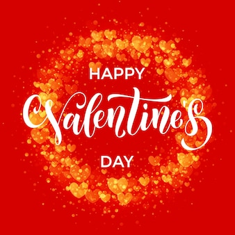 Luxe valentijnsdag tekst belettering met gouden hart patroon voor premium rode wenskaart