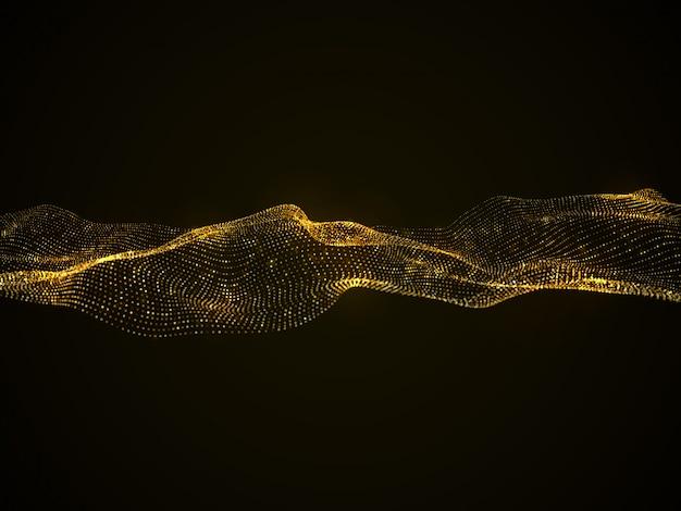 Luxe vector abstracte achtergrond met gouden glinsterende golf geïsoleerd op zwart