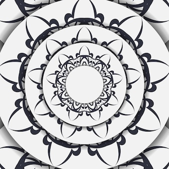 Luxe vector ansichtkaarten in wit met vintage zwart ornament. uitnodigingsontwerp met mandalapatronen.