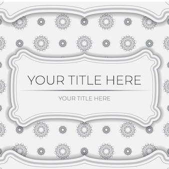 Luxe vector voorbereiding ansichtkaarten wit met vintage zwart ornament. sjabloon voor het afdrukken van uitnodigingsontwerp met mandala-patronen.