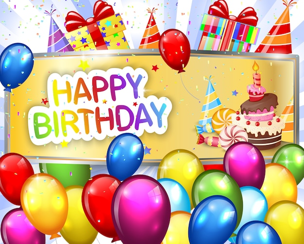Luxe verjaardag achtergrond met kleurrijke ballonnen