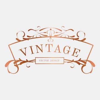 Luxe vintage art nouveau badge vector