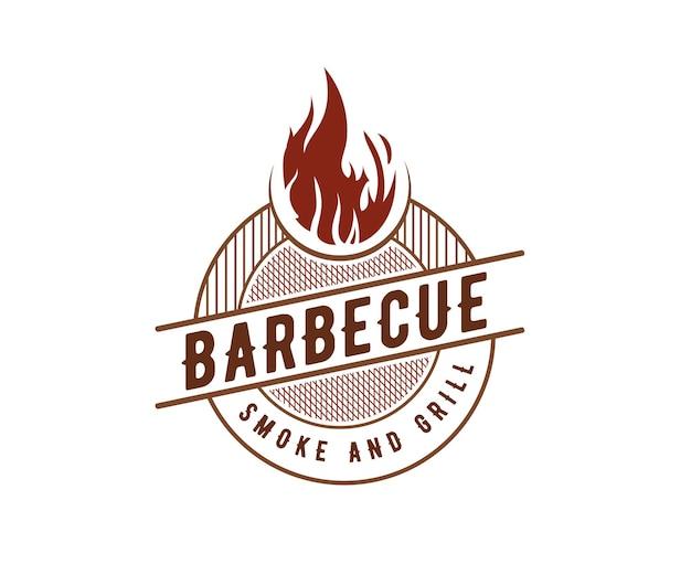 Luxe vintage barbecue bbq rokerij bar en grill barbecue logo gravure ontwerp