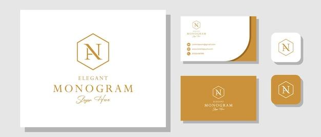 Luxe vintage initiaal an logo-ontwerpinspiratie met brand identity layout