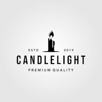 Luxe vintage kaars licht vlam logo ontwerp illustratie