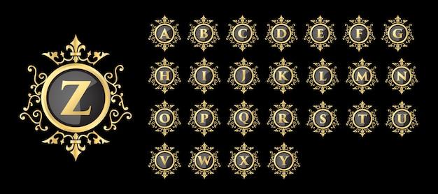 Luxe vintage koninklijke stijl gouden vrouwelijke bloemen beginletters logo ontwerpsjabloon set