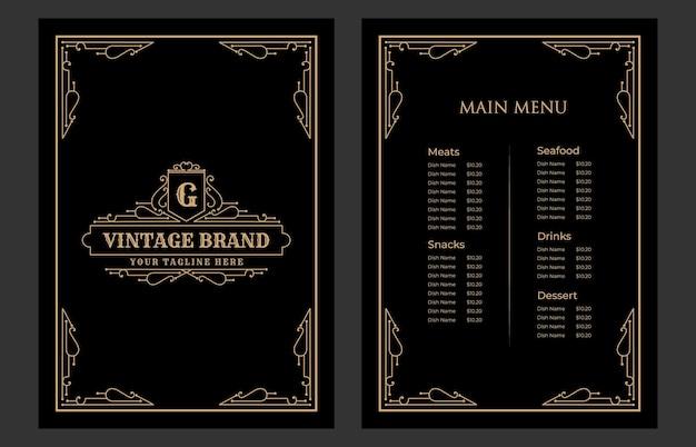 Luxe vintage restaurant eten menukaart sjabloon baai met logo voor hotel café bar coffeeshop
