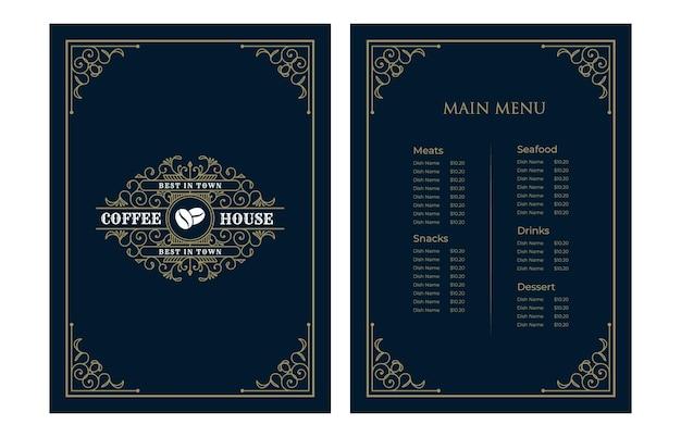 Luxe vintage restaurant eten menukaart sjabloon cover met logo voor hotel café bar coffeeshop