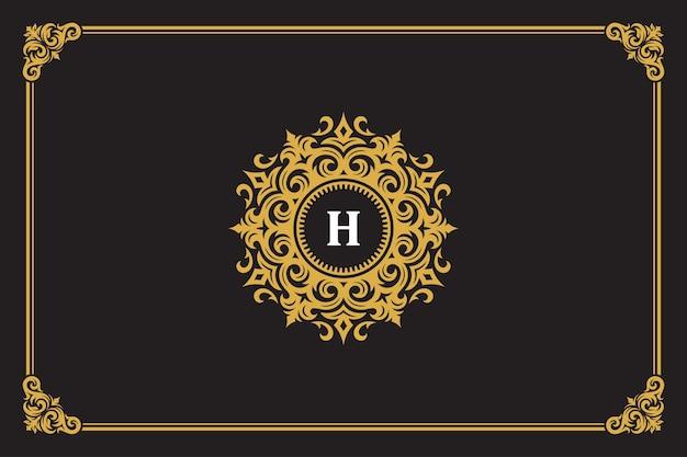 Luxe vintage sieraad logo monogram crest sjabloon ontwerp vectorillustratie