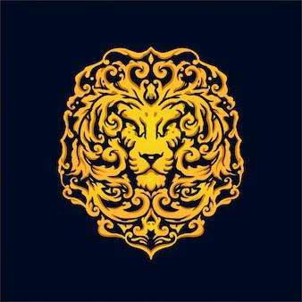 Luxe vintage stijl hoofd van lion logo design