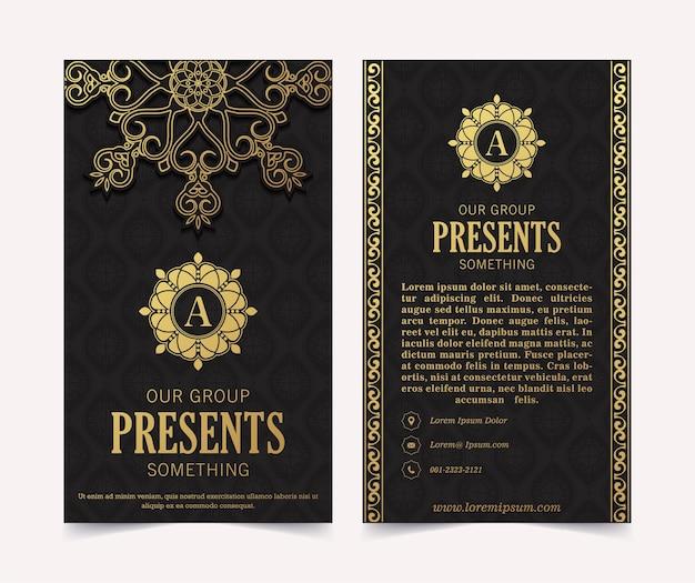 Luxe visitekaartje en vintage sieraad logo sjabloon. retro elegant bloeit sierkaderontwerp en patroonachtergrond.