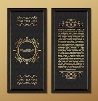 Luxe visitekaartje en vintage sieraad logo sjabloon. retro elegant bloeit sierkaderontwerp