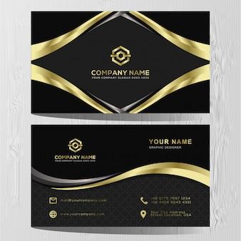 Luxe visitekaartje gouden en zilveren sjabloon