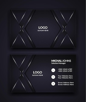 Luxe visitekaartje ontwerpsjabloon in zwarte kleur.