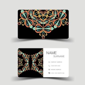 Luxe visitekaartjeontwerp contactkaart voor bedrijf tweezijdige vectorillustratie