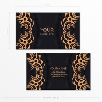 Luxe visitekaartjeontwerp met vintage indiaas ornament. kan als romeinse achtergrond en behang. elegante en klassieke elementen klaar voor print en typografie.